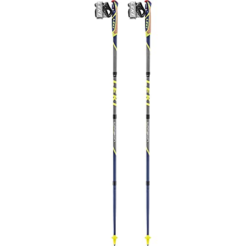 LEKI Micro Flash Carbon Stöcke, violettblau-steingrau-Neongelb, 115cm