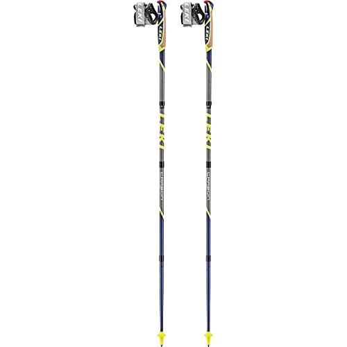 Leki Bastoncini Micro Flash Carbon, violettblau-Steingrau-Neongelb, 120cm