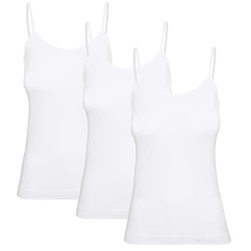 BRUBECK Unterhemd Damen weiß 3er Pack   Camisole Top   Cami atmungsaktiv   weißes Tanktop Spaghettiträger   Trägertop   Undershirt Women   Cotton   56% Baumwolle   Gr. M, White   CM00210A