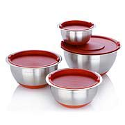 Wolfgang Puck Stainless Steel 8-Piece Mixing Bowl Set with Lids - Red