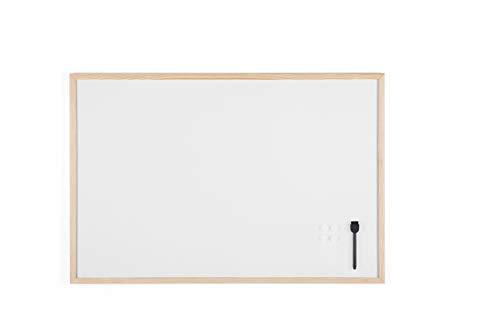 Bi-Office Lavagna Bianca Budget Con Cornice In Legno, Superficie Speciale Cancellabile A Secco, 900 x 600 mm