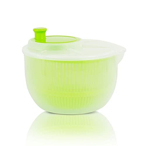 Centrifugadora lechuga fresca, escurridor lechuga (3L) Escurridor de Ensalada Libre de BPA.(Verde)