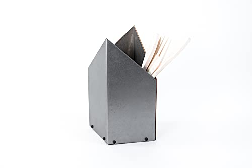 Soporte de utensilios de cocina soporte de cuchillo soporte de metal organizador de cubiertos organizador de utensilios Caja multiusos de acero inoxidable (estilo 2, metal encerado)
