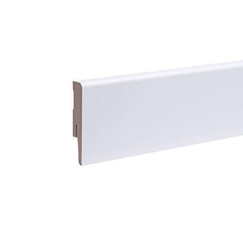 Sockelleisten Weimarer Profil Weiß Höhe 80mm - Fußleiste Bodenleiste Fußbodenleiste