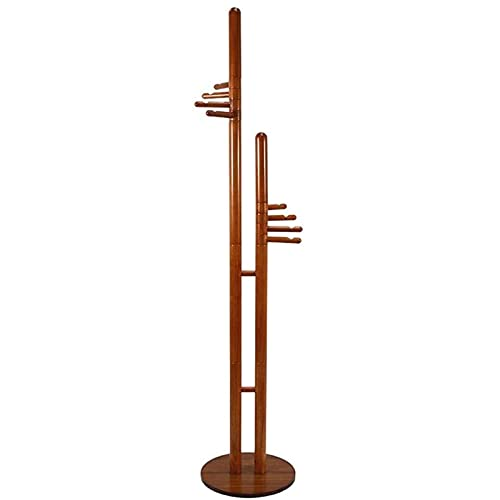 Capa de perchero con estante de madera maciza doble polo principal 8 mermelaciones de piso de pie de piso de pie Hat Bagbag Hager Abrigo industrial Altura 187 cm