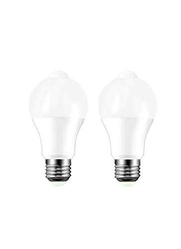 Motion Sensor Bulb, Human Body Induction Automatically Turn on/Off The Bulb, Energy Saving 9W (Equivalent to 80W), Suitable for porches, Stairs, corridors, bathrooms, Storage Rooms, 2 pcs per Pack.
