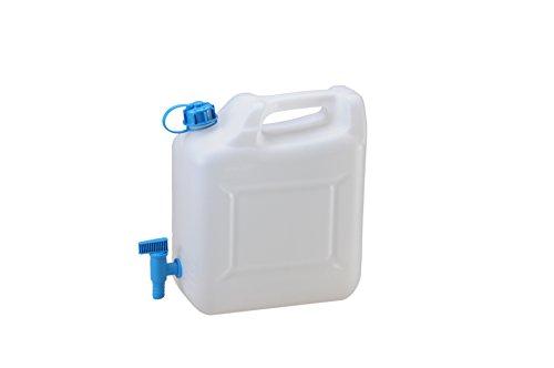 hünersdorff Wasserkanister ECO mit festmontiertem Ablasshahn / Wasserauslauf, 10 L (max. 12 L) (mit Hahn)