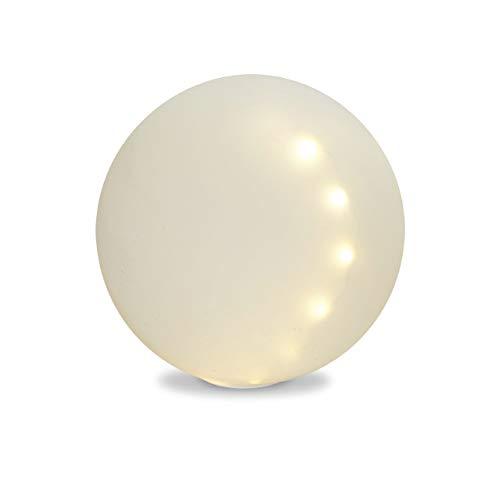 Sirius LED Kugellampe, Deko Leuchte ODINA D. 20cm mit Timer aus Glas weiß