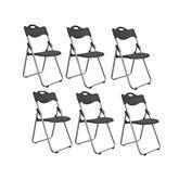 ECSD 6-Pack Chaise Pliante, Chaise De Salle À Manger Chaise De Bureau avec Siège en Plastique Et Arrière (Couleur : Noir)
