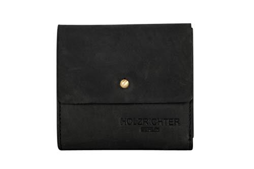 HOLZRICHTER Berlin Damen Geldbörse (S) - Edles Mini Knopf Portemonnaie aus Leder - schwarz