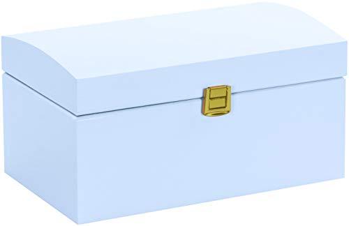 LAUBLUST Große Holztruhe gewölbter Deckel - 26x16x13cm, Blau, FSC®   Allzweck-Kiste aus Holz - Aufbewahrungskiste   Erinnerungsbox   Spielzeug-Truhe   Geschenk-Verpackung   Deko-Kasten zum Basteln