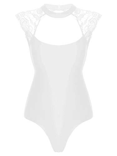 IEFIEL Maillot Manga Larga de Danza Ballet para Mujer Maillot Elegante de Gimnasia Ritmica Body Camiseta Ajustada Talla Grande Blanco C S
