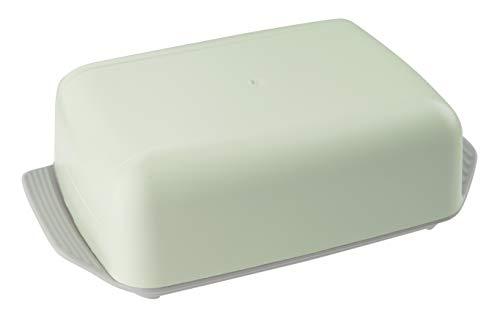 Fackelmann Eco - Burriera ecologica per burro fresco, sostenibile e moderna, con coperchio (colore: grigio/verde), quantità: 1 pezzo