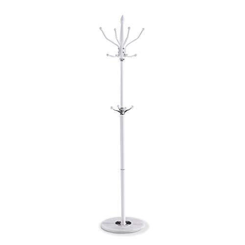 HomeSouth – Perchero de pie Moderno para Colgar Ropa, Perchero recibidor o Dormitorio Acabado en Color Blanco, Modelo Tiber, Medidas: 178 cm (Alto) x 37 cm (diámetro)