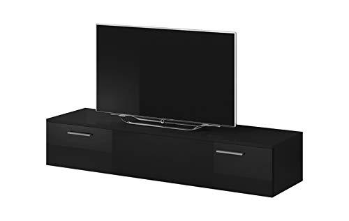 E-Com Mobile TV Armadio Supporto Boston Corpo Opaco Nero/Anteriore Nero Lucido (150cm)