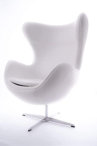 VOLERO'' Shopping Online, Poltrona a Uovo, Modello Afrodite, Ecopelle Color Bianco, Base in Alluminio