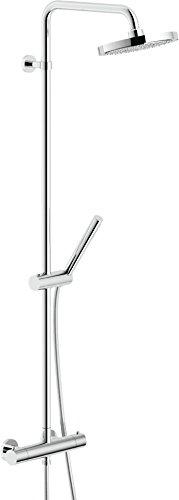 Nobili rubinetterie PL00030/30CR Plus Miscelatore Termostatico per Doccia Esterno, a 2 Vie con Rampa e Soffione, Cromo