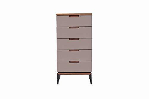 Amazon Marke - Rivet Schubladen, 60 x 40 x 121cm, Nussbaum/Grau