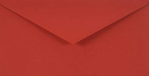 Netuno 25 rote DIN lang Briefumschläge, 110x220 mm, 115g, Sirio Color Lampone, Spitzklappe, ohne Fenster, ideal für Hochzeit, Geburtstag, Taufe, Weihnachten, Einladungen, Briefkarten, Grußkarten