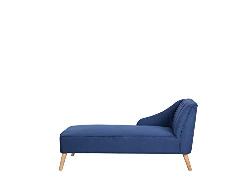 Beliani Modern Fabric Chaise Longue Navy Blue Polyester Light Wood Legs Sevis