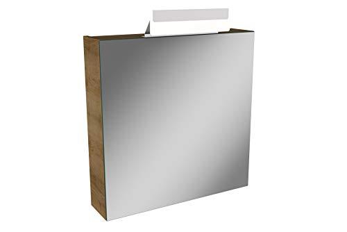 Lanzet LED Spiegelschrank L1 / Badschrank mit LED Leuchte/Maße (B x H x T): ca. 60 x 68 x 14,5 cm/Möbel fürs Bad oder WC/Schrank mit Spiegel / 1 Tür/Türanschlag Links/Korpus: Braun hell