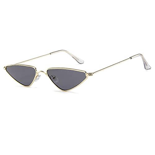 Gafas De Sol Gafas De Sol De Ojo De Gato Vintage para Hombres Y Mujeres, Gafas De Sol Triangulares Únicas para Mujer, Anteojos De Metal Amarillo, Uv400, Dorado Y Negro