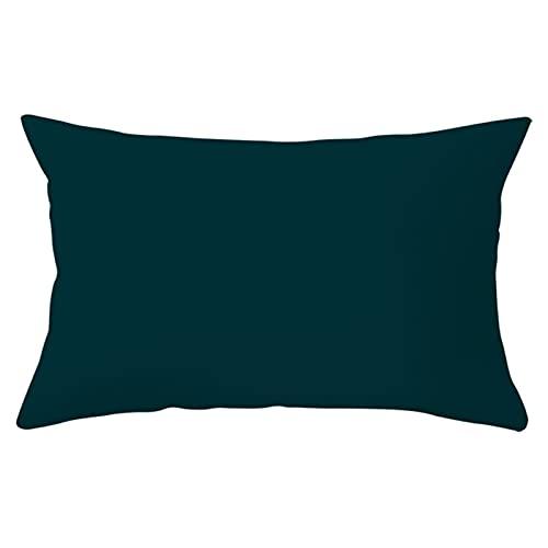 Agoble Funda Cojin Acolchada, Funda De Almohada con Cremallera Poliéster 1 30X50cm Funda Cojin Verde Color Sólido