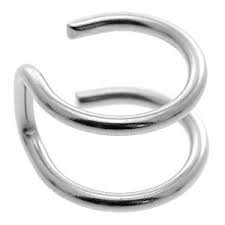 Clip op oor manchet - nep helix piercing - dubbel effen ring look - chirurgisch staal 316L