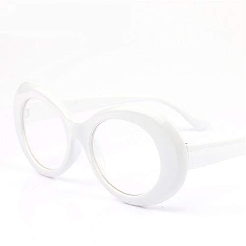 MOJINGYAN Sonnenbrillen,Brillen Brillen Sonnenbrillen Vintage Sonnenbrille Frauen Oval Männer Transparente Abdeckscheiben Eyewear White Löschen