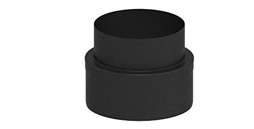 Übergangselement doppelwandig von Kaminofen auf Verbindungsleitung (15mm Isolierung), 150mm Innendurchmesser; schwarz lackiert