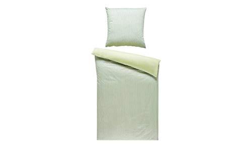 Bettwäsche 135x200 Satin Weiß Streifen 2tlg LAVIDA Bettgarnitur Bettbezug, Maße des Sets:155x220 + 1x 80x80 cm, Farbe-Dekor:Grün-Weiß