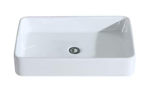 Eridanus Série Nevada, Vasque à Poser Rectangulaire Salle de Bain Lavabo en Céramique Lave-Mains Toilettes L61*L41*H11,5cm