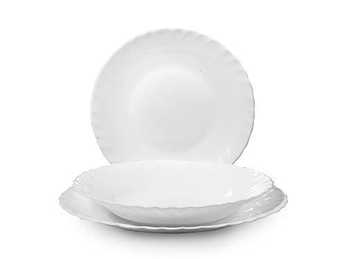 Rocco Bormioli Prima Servicio de mesa de 18 piezas, ópalo, blanco