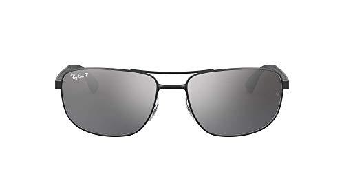 Ray-Ban Unisex RB3528 Sonnenbrille, Schwarz (Gestell: schwarz Glas: polarisiert Silber verspiegelt 006/82), X-Large (Herstellergröße: 61)