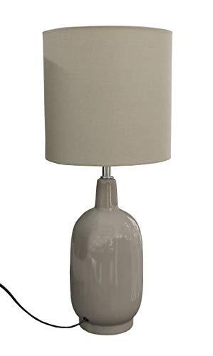 Meubletmoi Lampe à Poser Vase céramique Design Vintage - luminaire décoratif Beige - GAïA PM