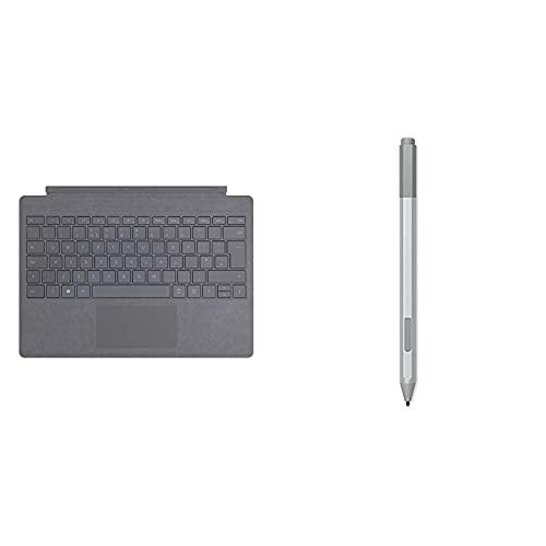 Microsoft - Funda con Teclado Surface Pro Signature Type Cover Carbón, Teclado Ingles + Surface Pen Lápiz Digital Platino 20 G - Lápiz para Tablet