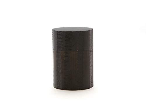 Gato Mikio - Japanische Teedose Rund 100g Losen Tee, Urushi Nuri, Schwarz, Ulmen Holz. Zwei Aroma-Deckel, von Hand in Japan Gefertigt, Geschenk-Verpackung