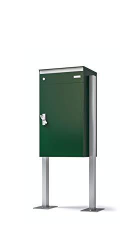 Stebler Briefkasten sbox 17 mit gesichertem Paketschliessfach, einfacher Selbstmontage, rostfreiem Aluminium, 440x800x340 mm, Handgefertigt mit Seitlichem Stützenpaar mit Fussplatten, Moosgrün