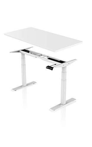 Könighaus Ergonomischer Premium Schreibtisch mit Doppelmotor - Elektrisch Höhenverstellbar (Weißes Gestell mit Weißer Tischplatte)