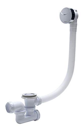 Wirquin SP5603 Ablaufgarnitur / Überlaufgarnitur mit Kabel und Siphon, chromfarben