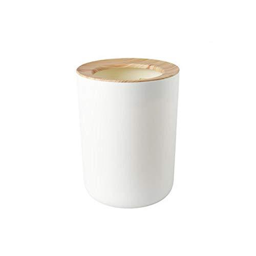 Xaviera Haushalts-einfacher Wohnzimmer-Abfalleimer, kreativ, ohne Deckel, mit Druckring, Mülleimer für WC und Büro, Kleiner Papierkorb (Holzmaserung)
