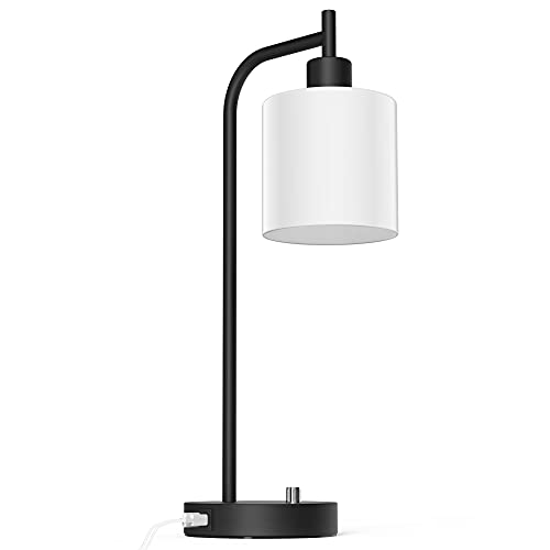 Table Lamp, Industrial Table Lamp with White Jade Glass Shade, LED Bulb Included, with Dimmable Function, Type C USB Port ,Nightstand Reading Lamps for Bedside, Study Room, Office (Matt Black)