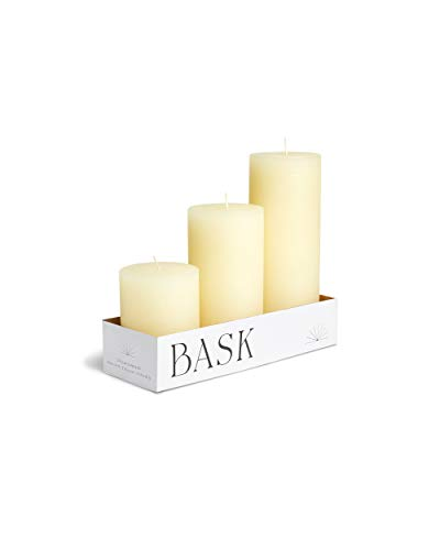 Mottled Pillar Candles by Bask - Set of 3 - 3' x 4', 6', and 8' Dripless Unscented Candles in Ivory for Home Decor, Relaxation & All Occasions