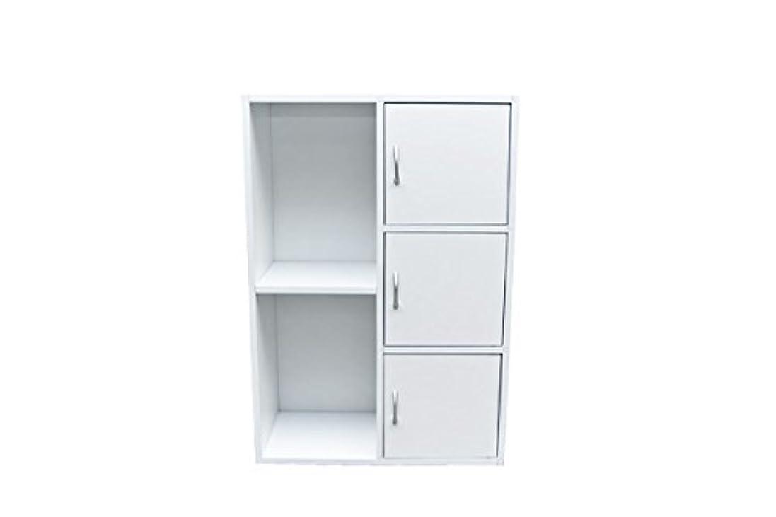 暗黙聞くインポート扉付き ラック 棚 3段 収納 カラーボックス ホワイト FB-016DWH