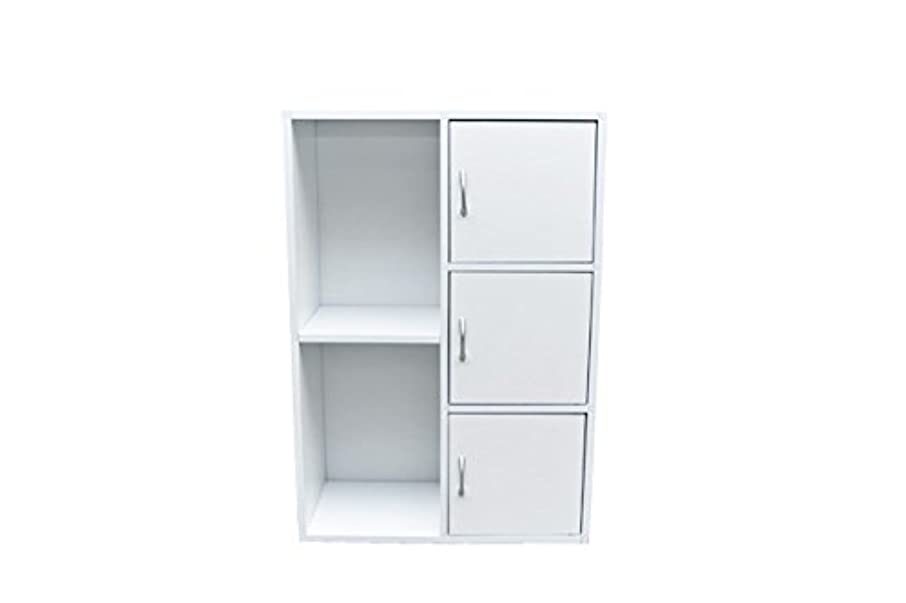 想像力発生デイジー扉付き ラック 棚 3段 収納 カラーボックス ホワイト FB-016DWH