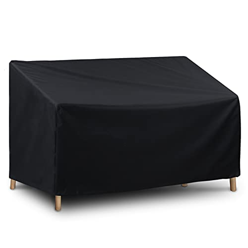 WISCLASS 3 Seat Garden Bench Cover, Garden Furniture Covers,Waterproof, Windproof, Anti-Uv, Heavy Duty Rip Proof 420D Oxford Fabric Outdoor Garden Bench Covers,64.2*26*35.1inches-Black