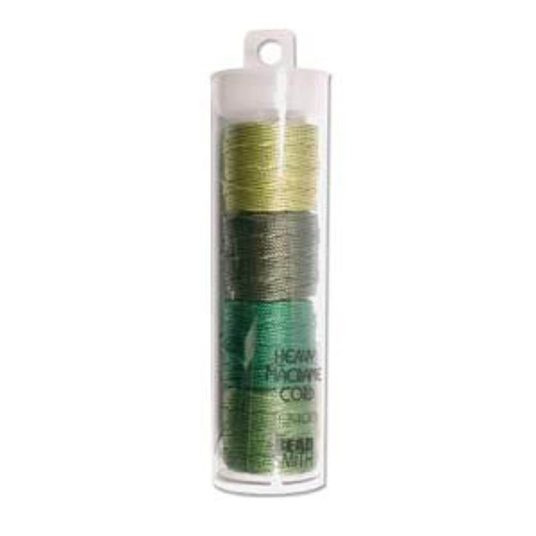S-Lon Heavy Bead Cord, Green Mixture, 0.9mm Diameter 4 Spools
