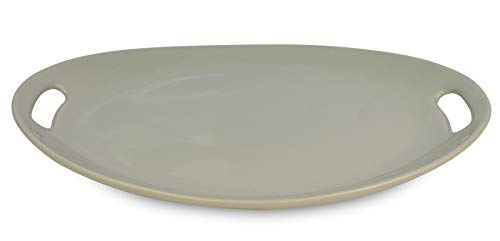 Le Regalo Stoneware Oval, Microwave Oven, Dishwasher Safe, Food Platter, Kitchen Serveware, 13.50'x9.50', Off-White