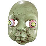 Plastic Zombie Mask Baby Doll Costume Head with Bulging Eyes and Bloody Mouth for Adults 9 Inch Green