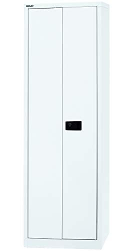 BISLEY Aktenschrank abschließbar in weiß Metallschrank Stahlschrank Werkzeugschrank Blechschrank Schrank Büroschrank H 195 x B 60 x T 40 cm   5 Fächer Verkehrsweiß